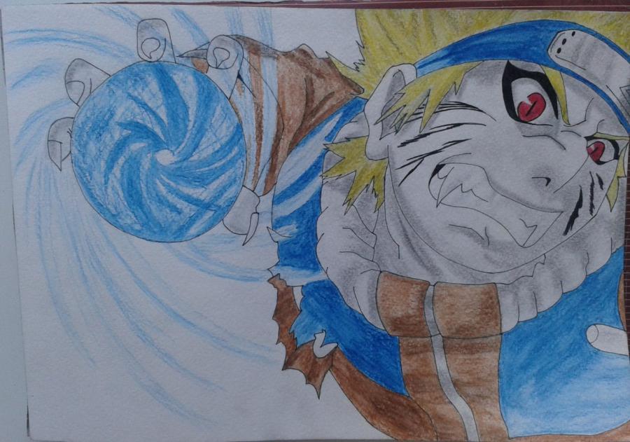Рисуем и раскрасить Наруто цветными карандашами - шаг 9