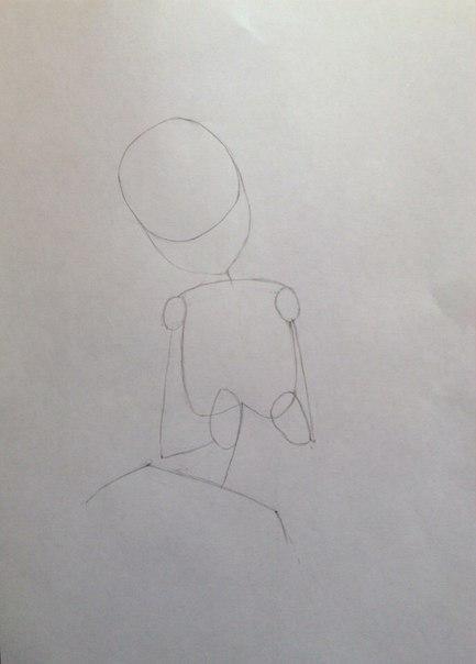 Рисуем Сию из Вокалоидов карандашами - шаг 3