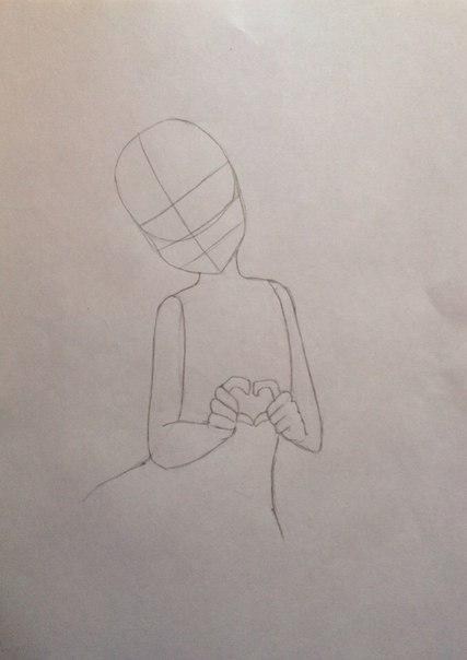 Рисуем Сию из Вокалоидов карандашами - шаг 5