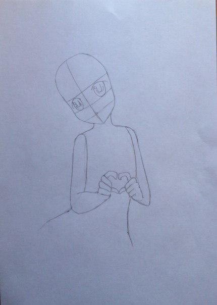 Рисуем Сию из Вокалоидов карандашами - шаг 6