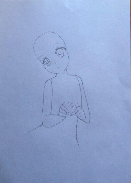 Рисуем Сию из Вокалоидов карандашами - шаг 7