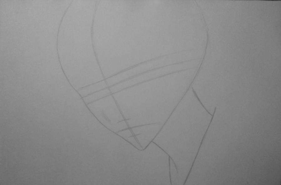 Рисуем и раскрасить Томоэ карандашами - шаг 2