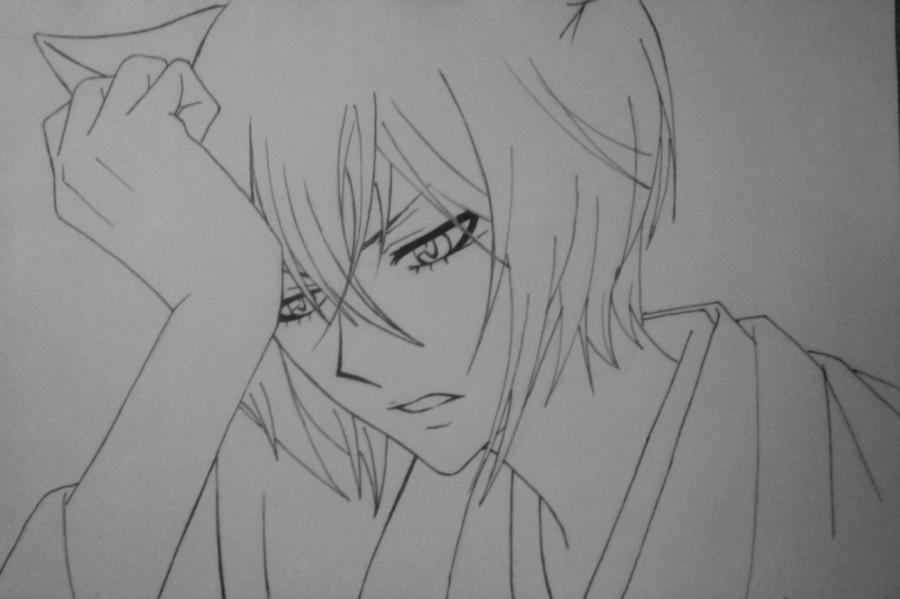 Рисуем и раскрасить Томоэ карандашами - шаг 7
