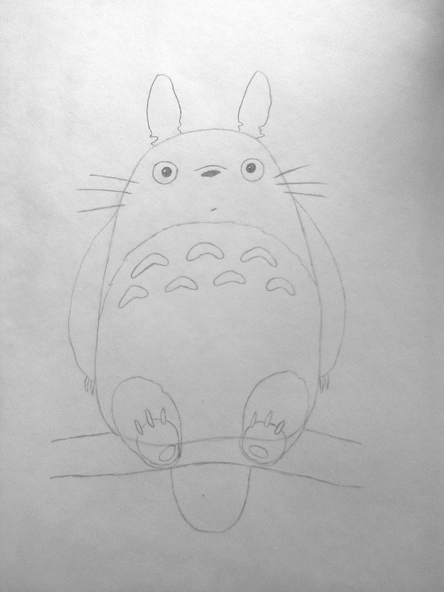 Рисуем Тоторо из аниме Мой сосед Тоторо - шаг 3