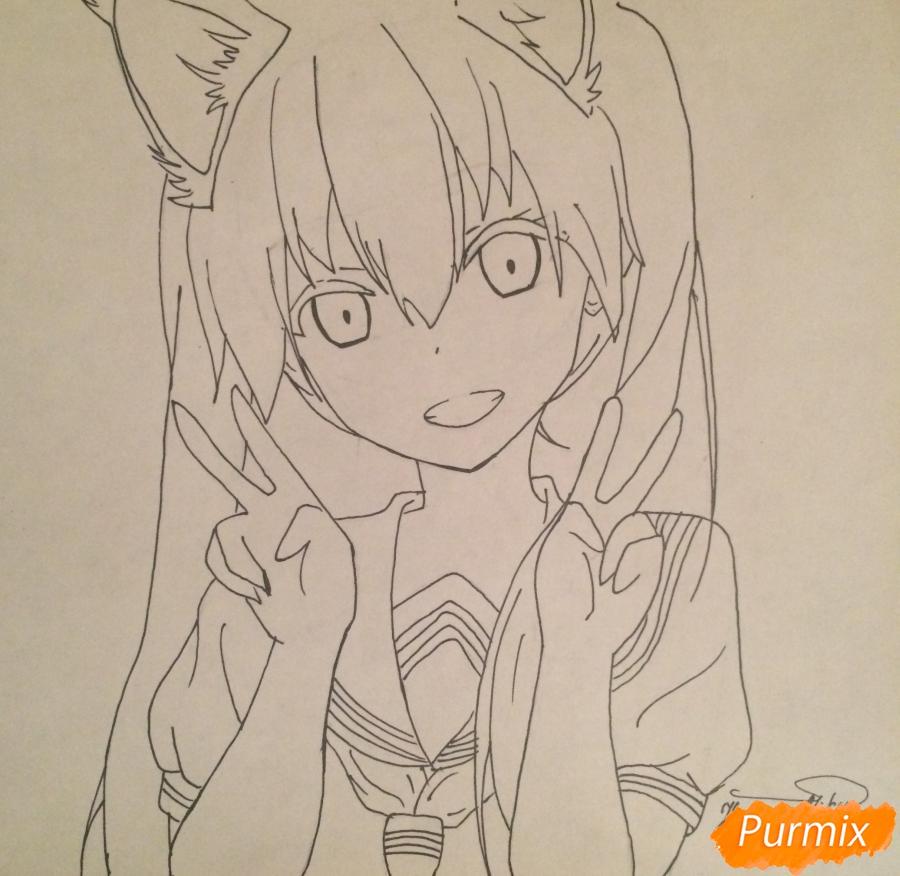 Рисуем и раскрасить улыбающуюся неко девушку - шаг 9