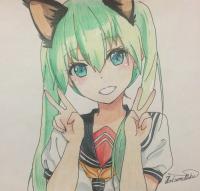 Рисунок и раскрасить улыбающуюся аниме девушку