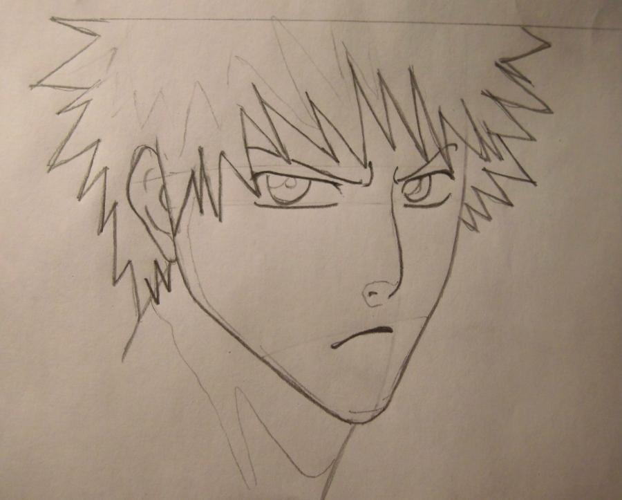Учимся рисовать Ичиго Куросаки из Блич - шаг 3