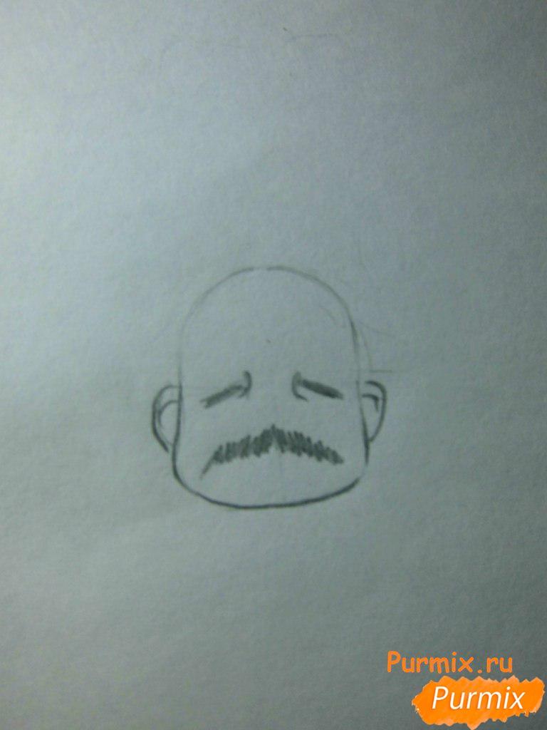 Рисуем инспектора из аниме Неуловимая воровка Рейня - шаг 2