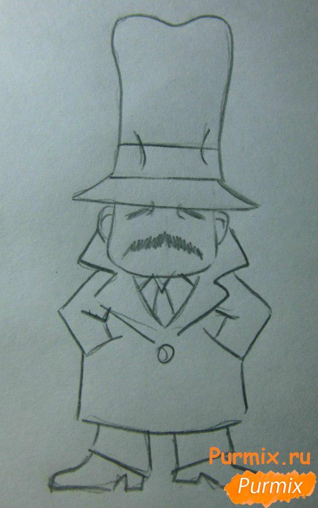 Рисуем инспектора из аниме Неуловимая воровка Рейня - шаг 4