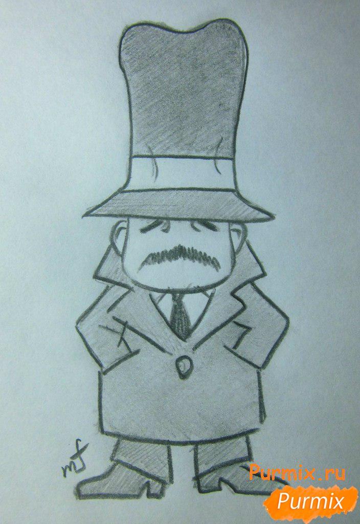 Как нарисовать инспектора из аниме Неуловимая воровка Рейня карандашом поэтапно