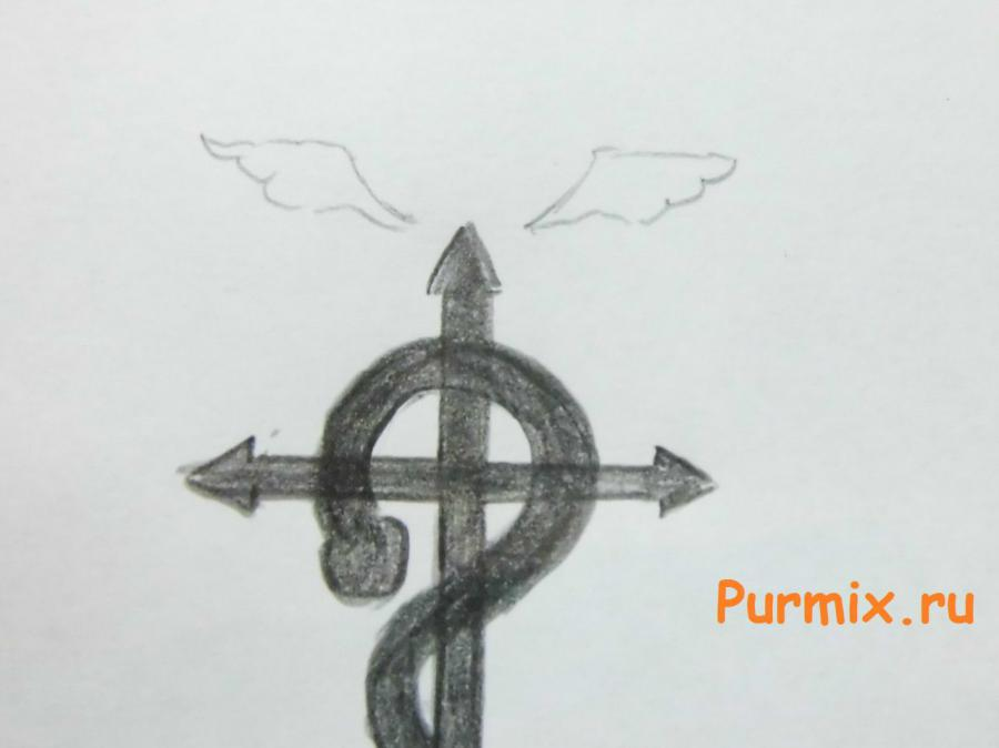 Рисуем эмблему братьев Элриков из аниме Стальной алхимик