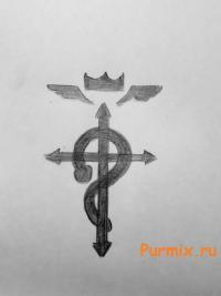 Рисунок эмблему братьев Элриков из аниме Стальной алхимик
