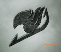 Фото эмблему гильдии Хвост Феи простым карандашом