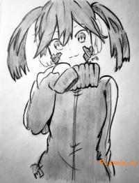 Фото Эне из аниме Призрачный проект простым карандашом