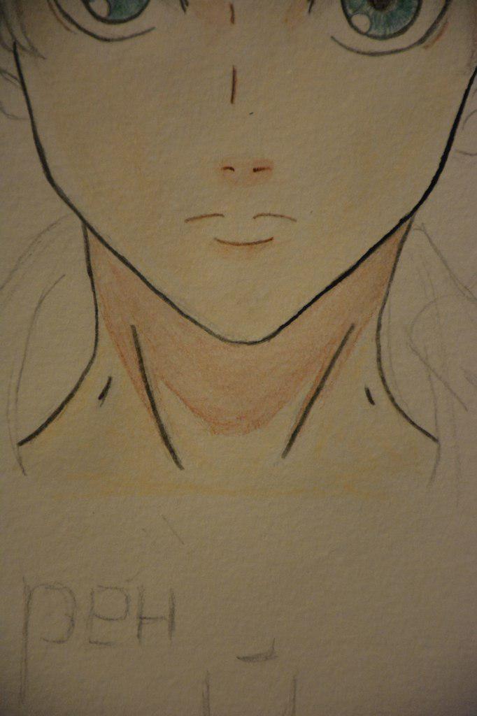 Рисуем Эрена Йегеря цветными карандашами - шаг 13