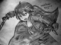 Фото Казуто Киригае из мастера меча онлайн карандашом на бумаг