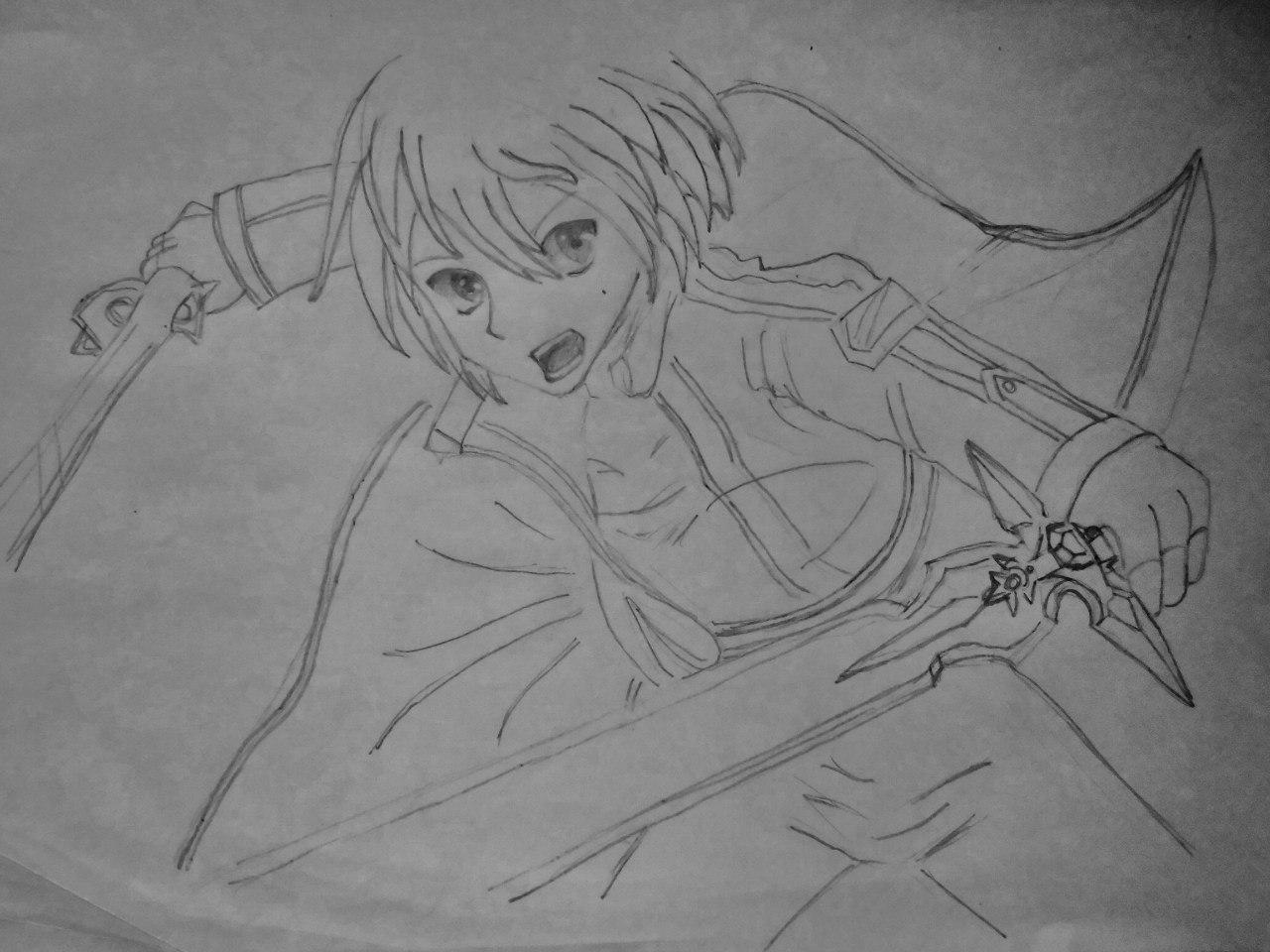 Рисуем Кадзуто Киригая с двумя мечами карандашами - шаг 4