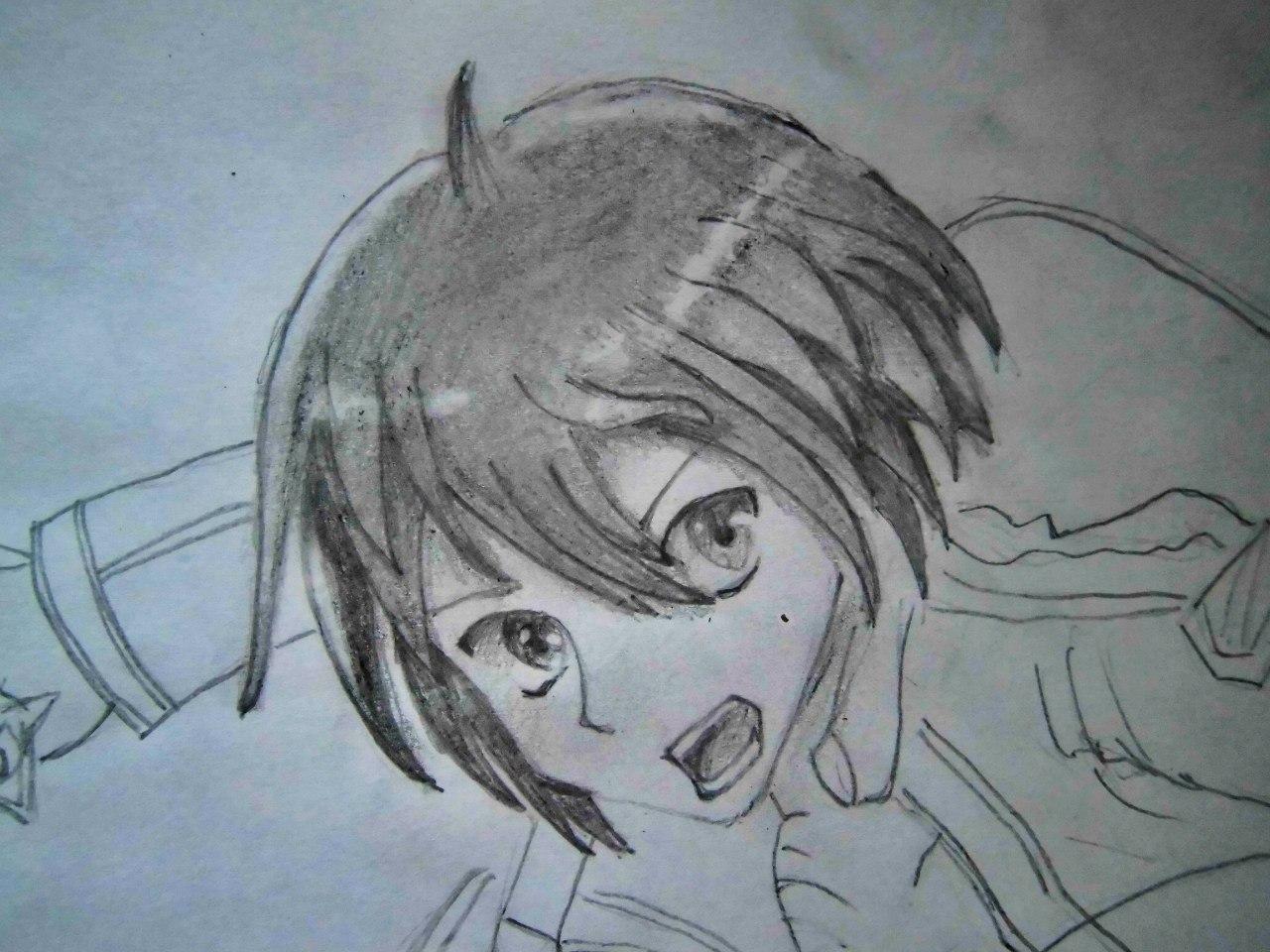Рисуем Кадзуто Киригая с двумя мечами карандашами - шаг 5