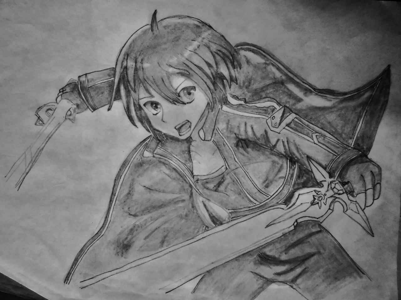 Рисуем Кадзуто Киригая с двумя мечами карандашами - шаг 7