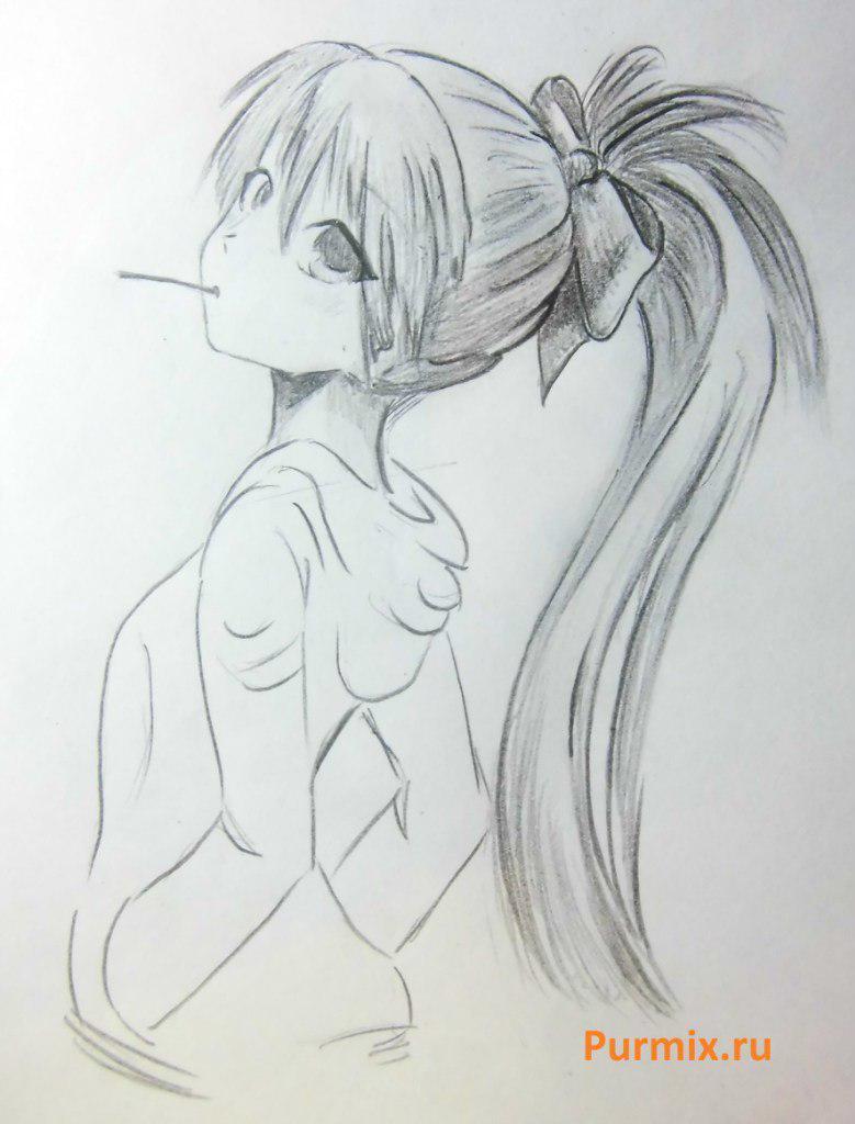 Рисуем Кёко Сакура из аниме Волшебница Мадока Магика