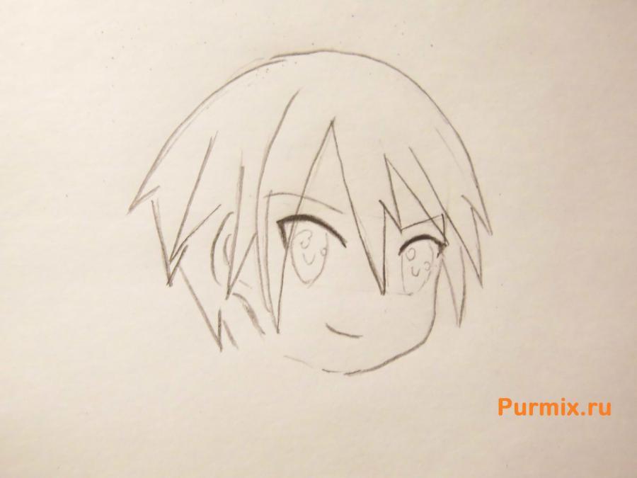 Рисуем Кадзуто Киригая из аниме Мастер меча онлайн карандашами - шаг 3