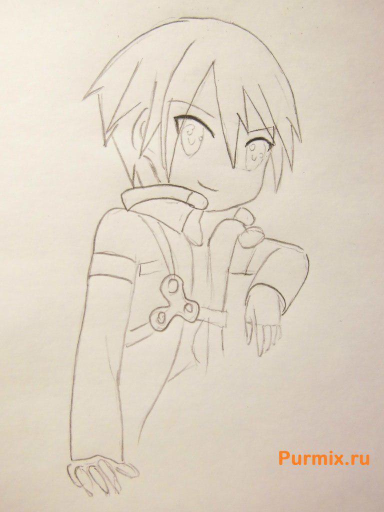 Рисуем Кадзуто Киригая из аниме Мастер меча онлайн карандашами - шаг 4