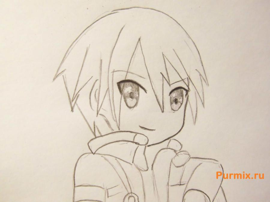 Рисуем Кадзуто Киригая из аниме Мастер меча онлайн карандашами - шаг 6