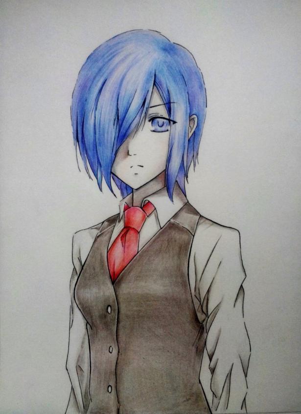 Рисуем Киришиму Тоуку из аниме Токийский гуль карандашами - шаг 10