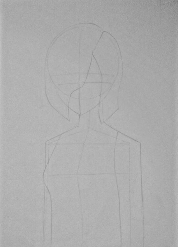 Рисуем Киришиму Тоуку из аниме Токийский гуль карандашами - шаг 4