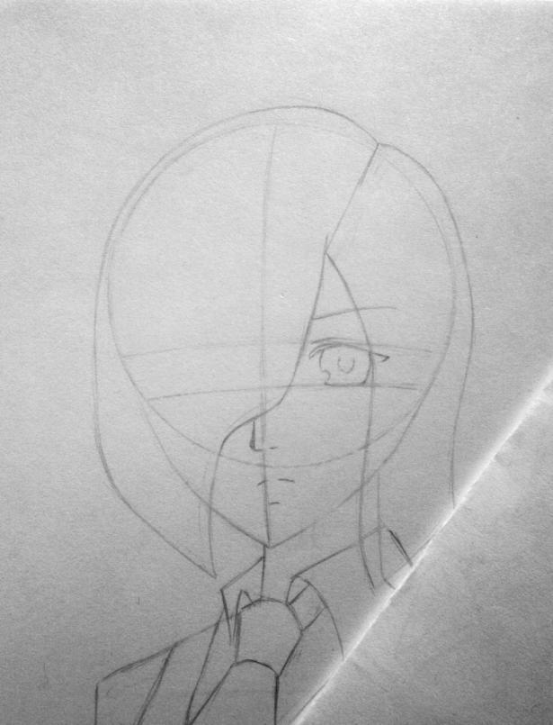Рисуем Киришиму Тоуку из аниме Токийский гуль карандашами - шаг 6