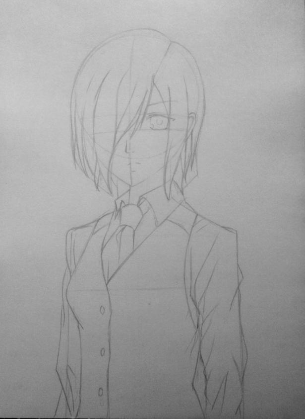 Рисуем Киришиму Тоуку из аниме Токийский гуль карандашами - шаг 7