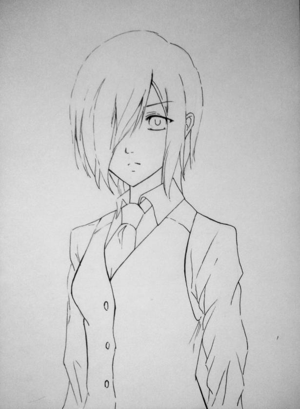 Рисуем Киришиму Тоуку из аниме Токийский гуль карандашами - шаг 8