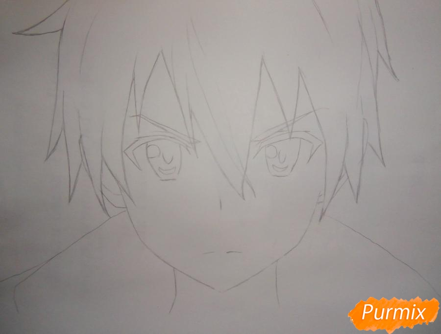 Рисуем Кирито из аниме Мастера меча онлайн - шаг 3