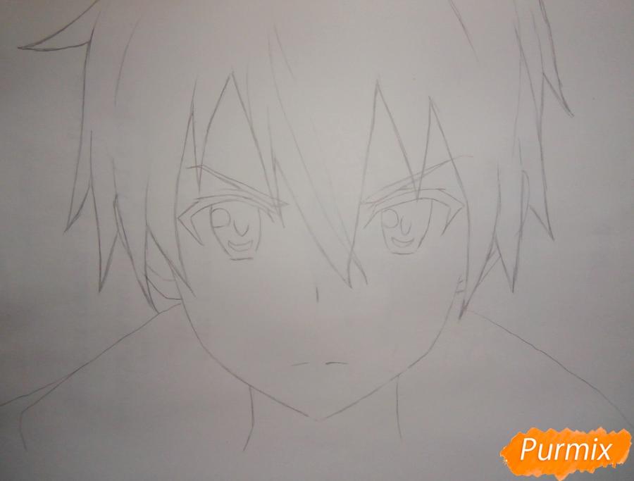 Как нарисовать Кирито из аниме Мастера меча онлайн карандашом поэтапно - шаг 3