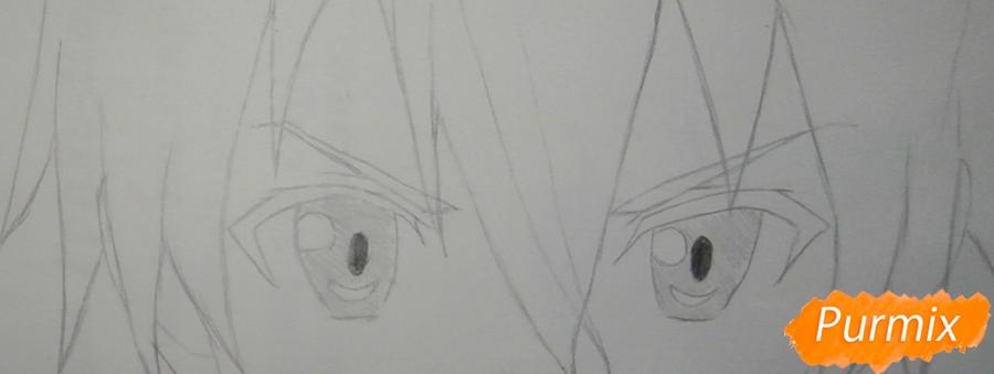 Как нарисовать Кирито из аниме Мастера меча онлайн карандашом поэтапно - шаг 4