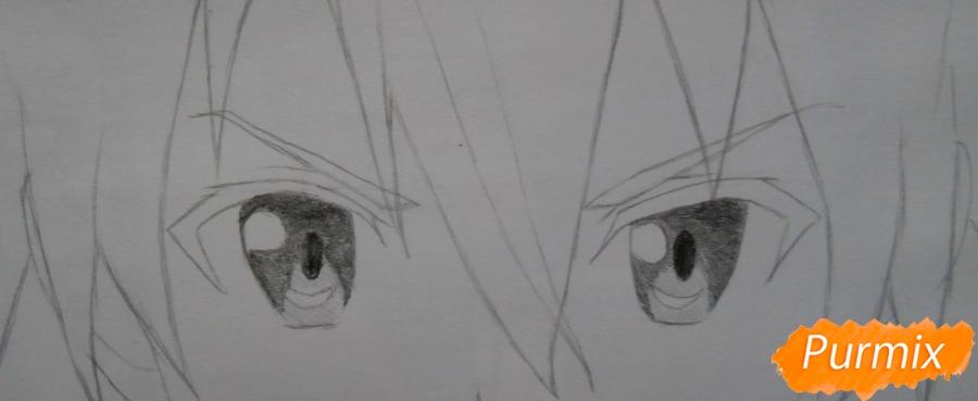 Как нарисовать Кирито из аниме Мастера меча онлайн карандашом поэтапно - шаг 5