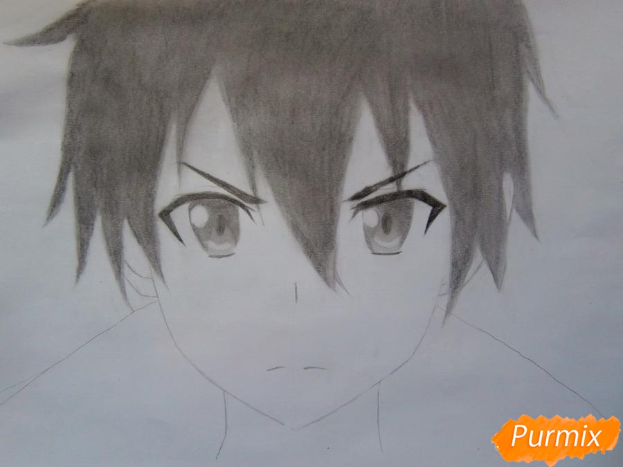 Как нарисовать Кирито из аниме Мастера меча онлайн карандашом поэтапно - шаг 6
