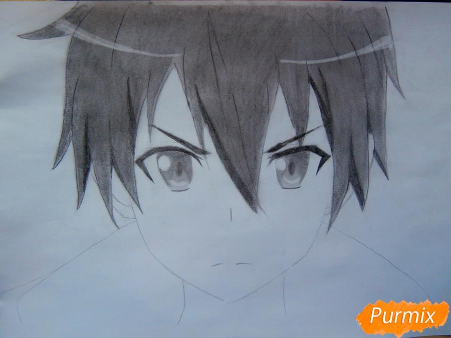 Как нарисовать Кирито из аниме Мастера меча онлайн карандашом поэтапно - шаг 7