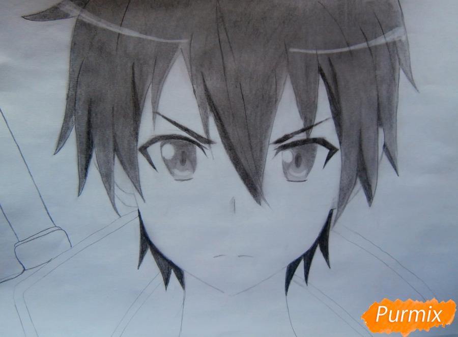 Как нарисовать Кирито из аниме Мастера меча онлайн карандашом поэтапно - шаг 8
