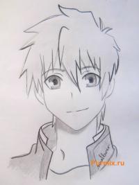 Фото Кэнго Асамура из аниме Монохромный фактор карандашом