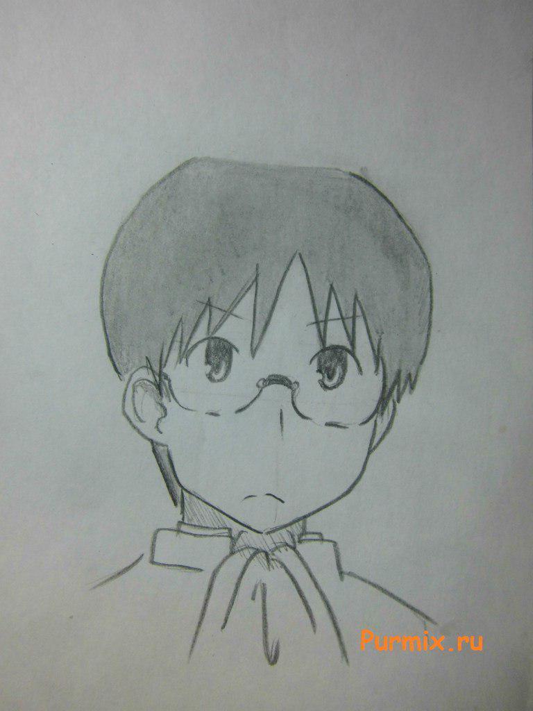 Как нарисовать Кодзиро Сасахара из Мелочи жизни поэтапно - шаг 6