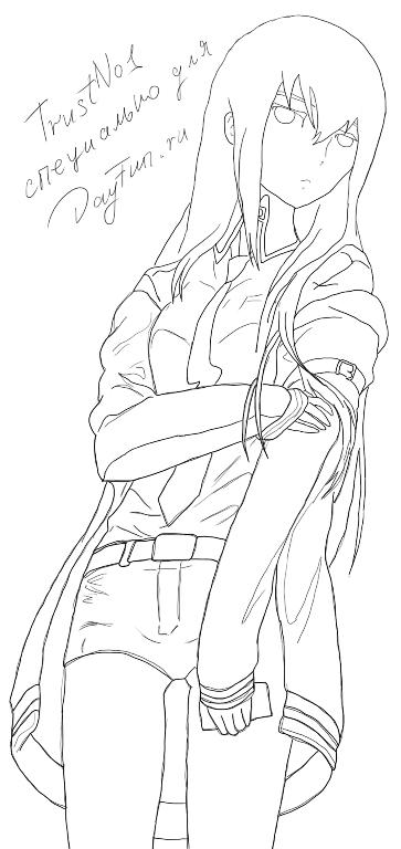 Как нарисовать Курису Макисэ из из Врата Штейна (Steins Gate) карандашом поэтапно