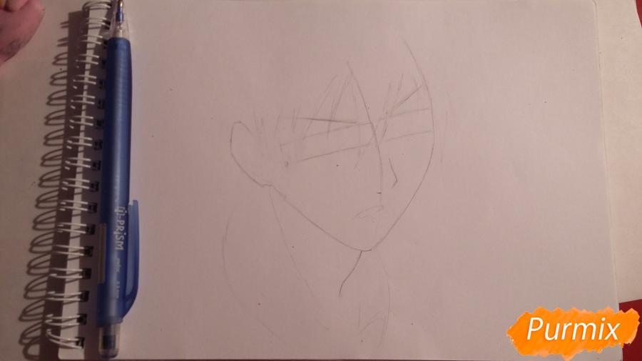 Рисуем Куроко Тецуя из аниме Баскетбол Куроко - шаг 1