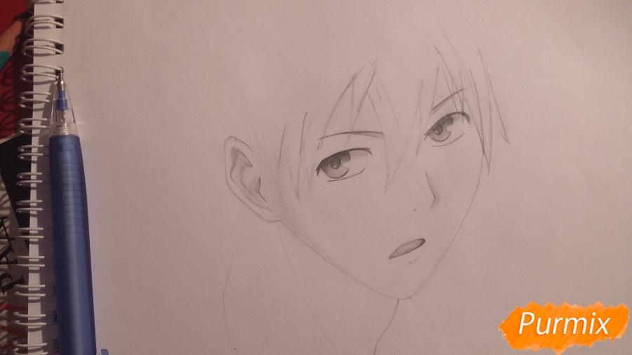 Рисуем Куроко Тецуя из аниме Баскетбол Куроко - шаг 4