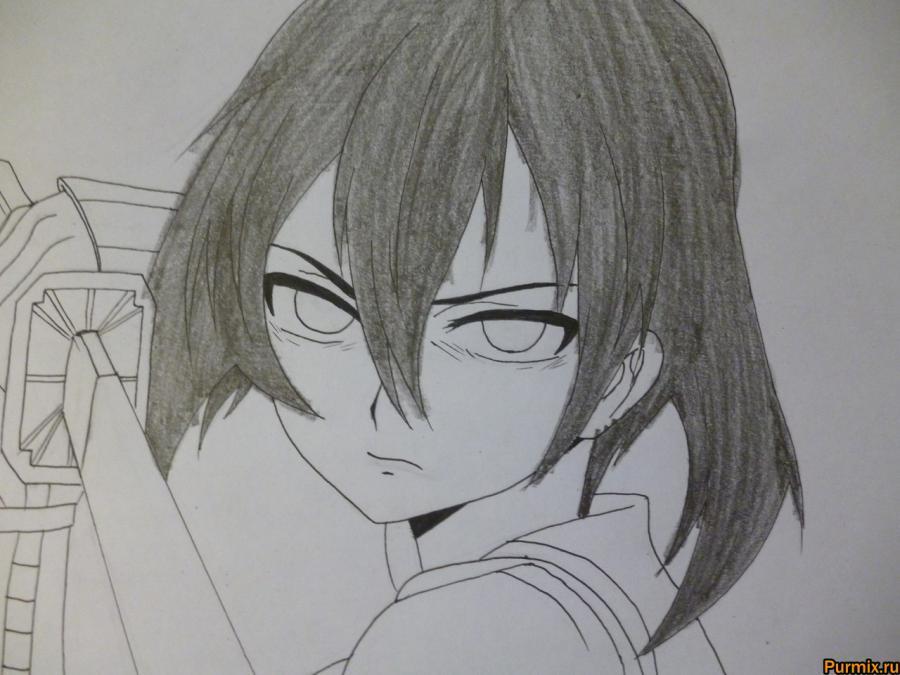 Рисуем Куромэ из Убийца Акаме простым
