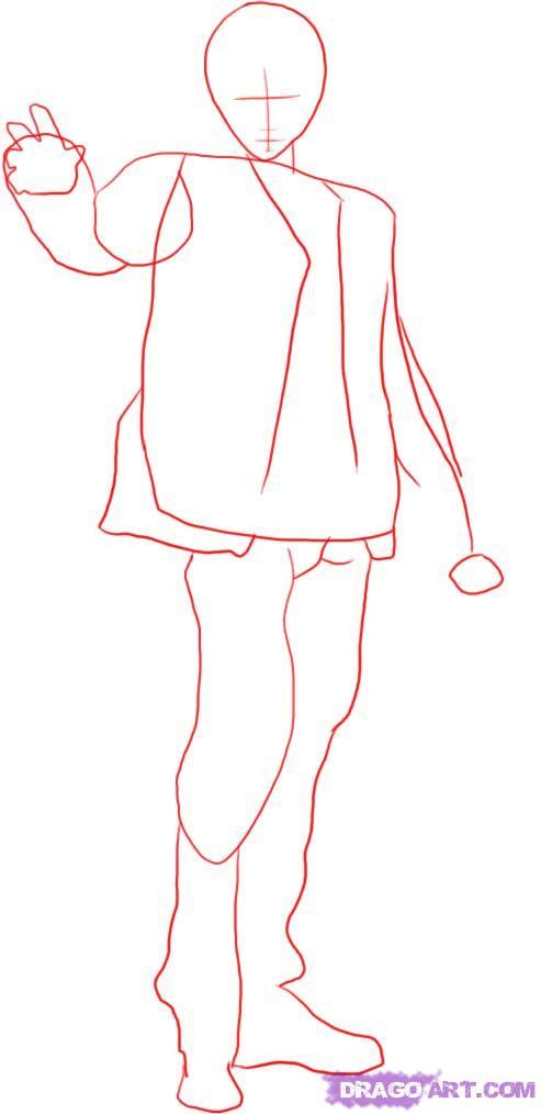 Рисуем Лайта Ягами в полный рост - шаг 1