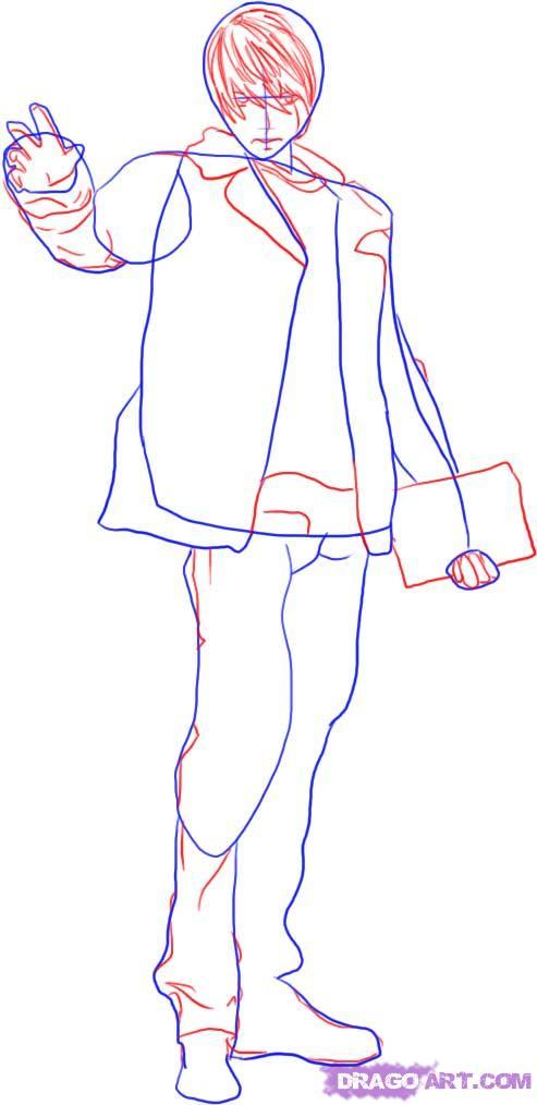Рисуем Лайта Ягами в полный рост - шаг 2