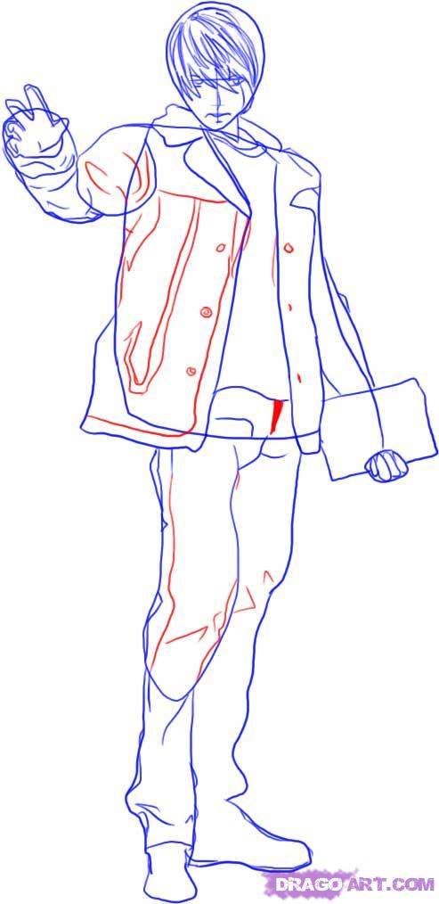 Рисуем Лайта Ягами в полный рост - шаг 3