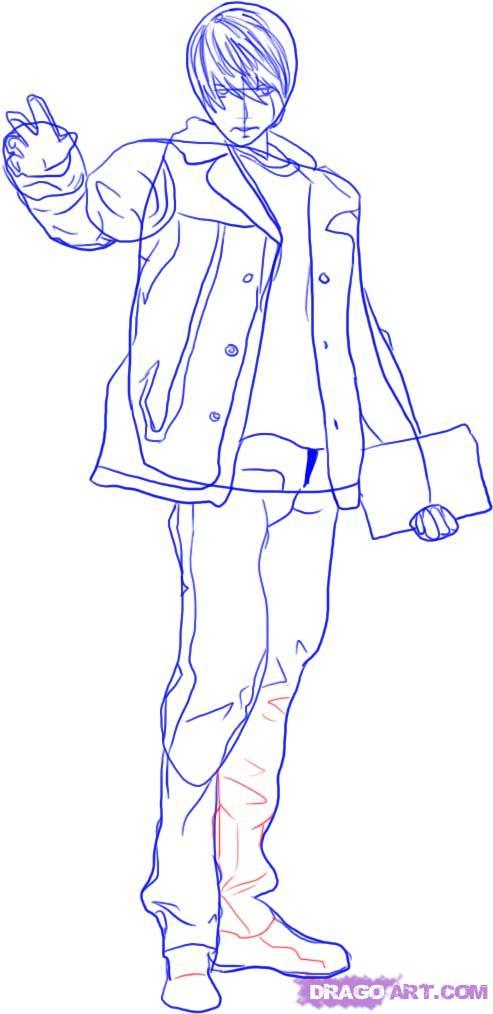 Рисуем Лайта Ягами в полный рост - шаг 4