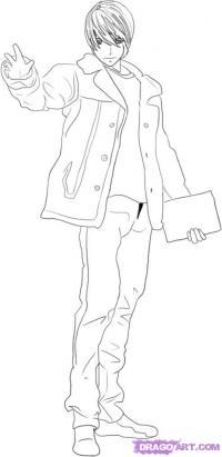 Как нарисовать Лайта Ягами из Тетрадь смерти карандашом поэтапно